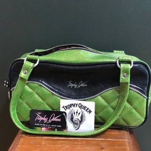 Trophy Queen Discontinued Lime Green Sparkle Bag